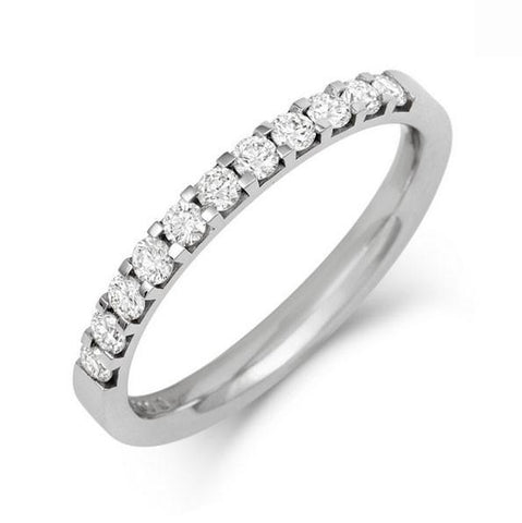 Claw Set Lab Grown Diamond Half Eternity/Wedding Ring - Platinum