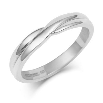Crossover Wedding Band -  Yellow, White or Rose Gold (18ct) or Platinum