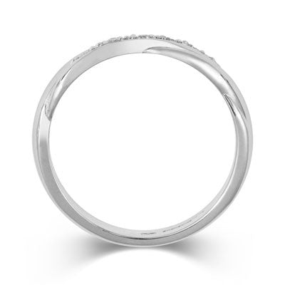 Crossover Diamond Set Wedding Band- Yellow or White Gold (18ct) or Platinum - CRED Jewellery - Fairtrade Jewellery - 3