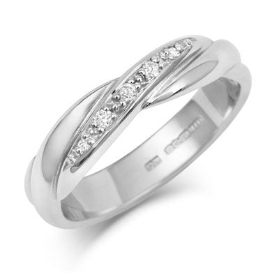 Crossover Diamond Set Wedding Band- Yellow or White Gold (18ct) or Platinum - CRED Jewellery - Fairtrade Jewellery - 1