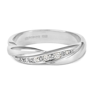 Crossover Diamond Set Wedding Band- Yellow or White Gold (18ct) or Platinum