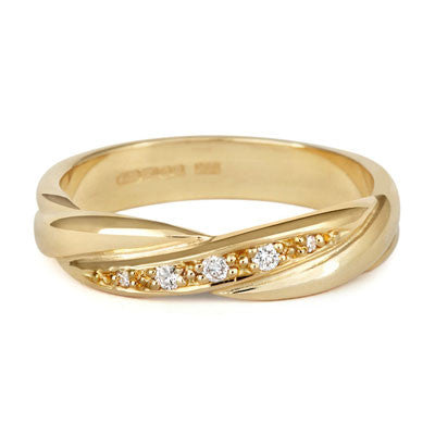 Crossover Diamond Set Wedding Band- Yellow or White Gold (18ct) or Platinum - CRED Jewellery - Fairtrade Jewellery - 5