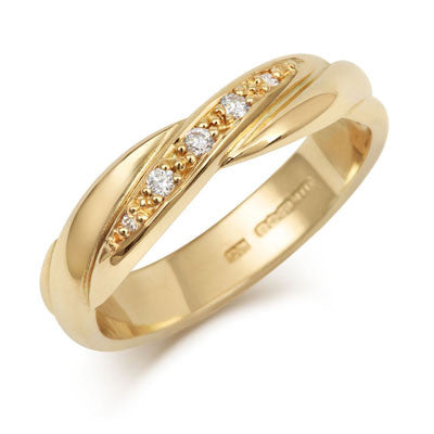 Crossover Diamond Set Wedding Band- Yellow or White Gold (18ct) or Platinum - CRED Jewellery - Fairtrade Jewellery - 4