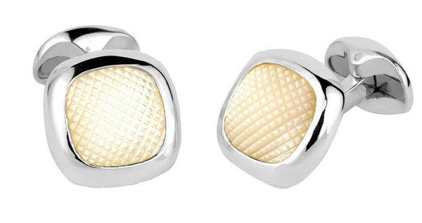 Hobnail Cufflinks with Mother of Pearl Inlay - CRED Jewellery - Fairtrade Jewellery
