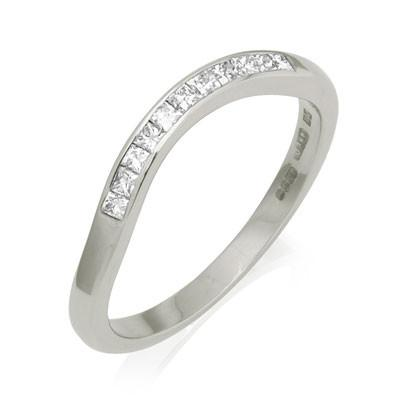 Deco Sweep Half Eternity Fitted Diamond Set Eternity/Wedding Ring - Platinum
