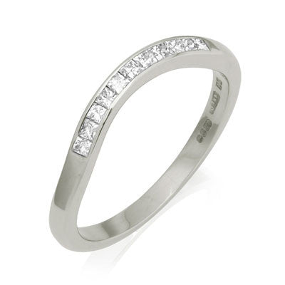 Deco Sweep Half Eternity Fitted Diamond Set Wedding Ring