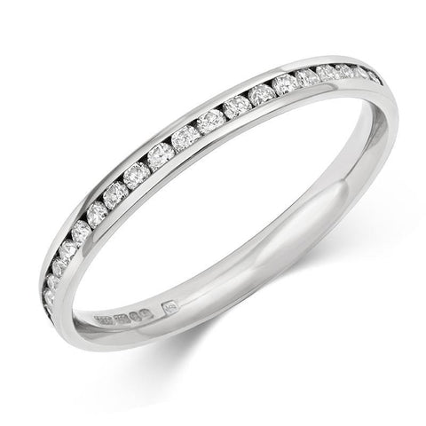 Delicate Channel Set Lab Grown Diamond Half Eternity/Wedding Ring - Platinum