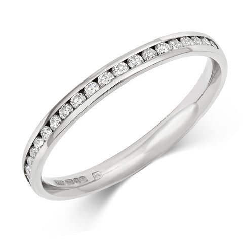 Delicate Channel Set Diamond Half Eternity/Wedding Ring