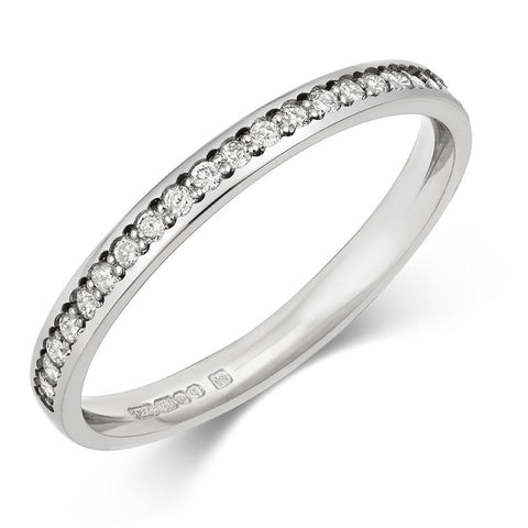 Delicate (2mm) Pave Lab Grown Diamond Half Eternity/Wedding Ring - (18ct) Yellow, White or Rose gold