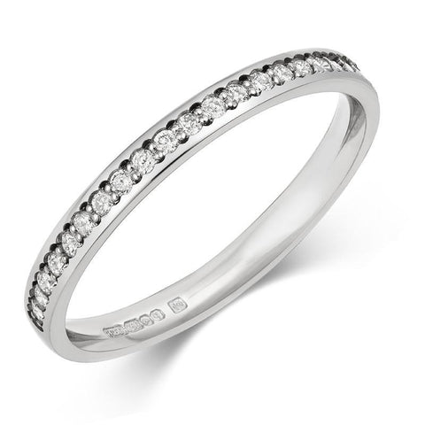 Delicate (2mm) Pave Lab Grown Diamond Half Eternity/Wedding Ring - Platinum