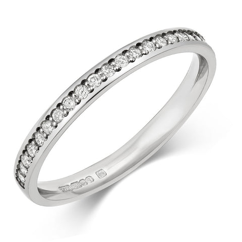 Delicate(2mm) Pave Diamond Half Eternity/Wedding Ring