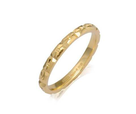 Ladies Diamond Cut Wedding Band - Yellow, White or Rose Gold (18ct) or Platinum