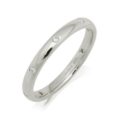 Ladies Diamond Set Court Ring  - Platinum