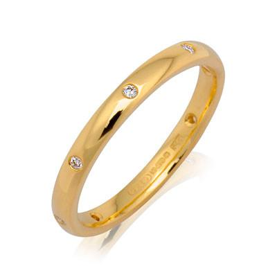 Ladies Diamond Set Court Ring (18ct) - Yellow Gold