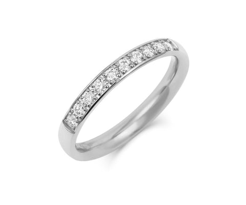Double Pave Diamond Set Half Eternity/Wedding Ring - (18ct) White Gold