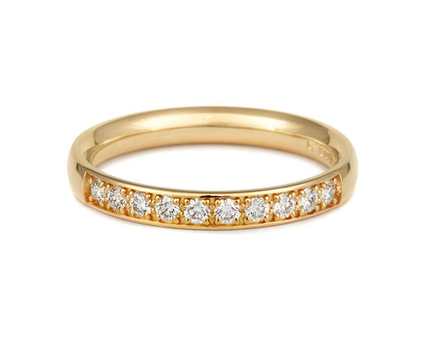 Double Pave Diamond Set Half Eternity/Wedding Ring - (18ct) Yellow, White or Rose gold