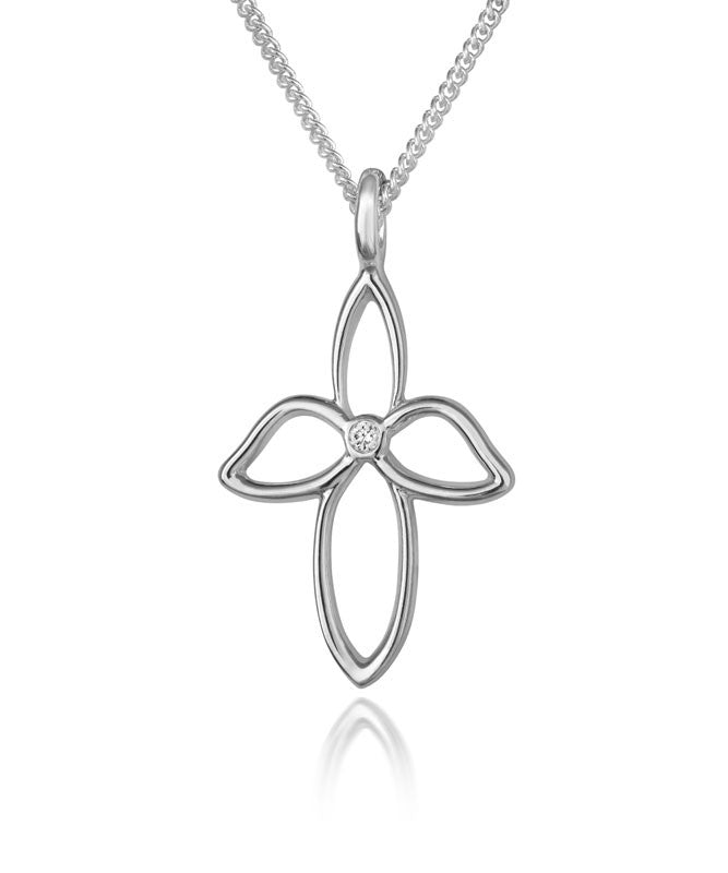 Dove Cross Pendant with Diamond - CRED Jewellery - Fairtrade Jewellery