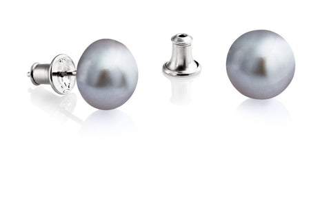 Jersey Pearl Silver Grey (10.5mm) Earrings