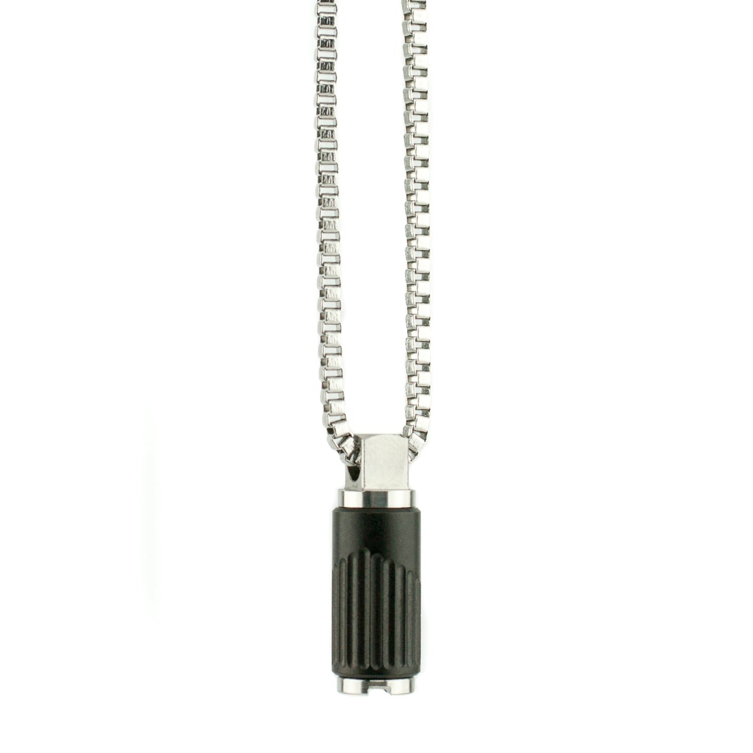 "Pendant Converter with EQ Matte Black Bead-Small 18"" Chain"