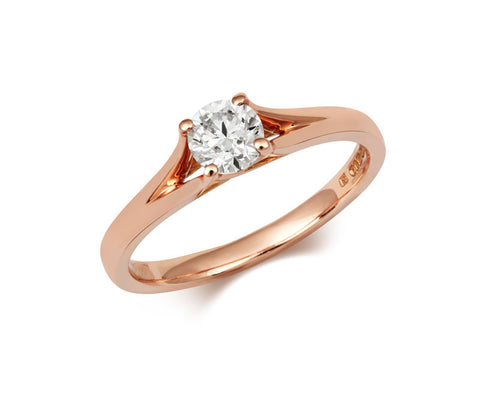 Brilliant Cut Enfold Rose Gold Ethical Solitaire Diamond Engagement Ring