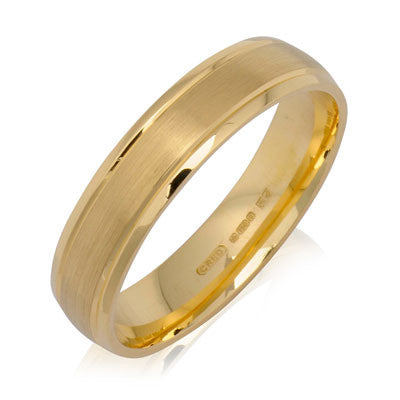 Outer Engraved Court Wedding Ring with Dual-Tone Finish - CRED Jewellery - Fairtrade Jewellery - 1