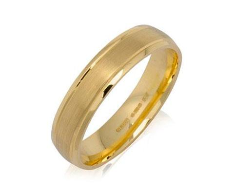 Outer Engraved Court Wedding Ring with Dualtone Finish - Yellow or White Gold (18ct) or Platinum