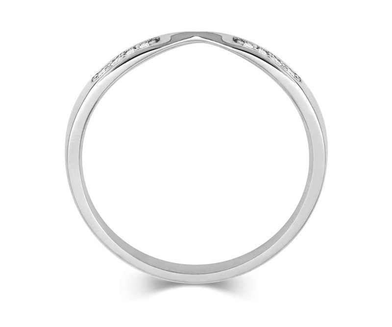 Double Diamond Ribbon Wedding Ring- Yellow or White Gold (18ct) or Platinum - CRED Jewellery - Fairtrade Jewellery - 5