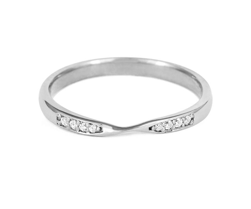 Double Diamond Ribbon Wedding Ring- Yellow or White Gold (18ct) or Platinum - CRED Jewellery - Fairtrade Jewellery - 6
