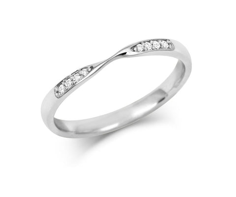 Double Diamond Ribbon Wedding Ring- Yellow or White Gold (18ct) or Platinum