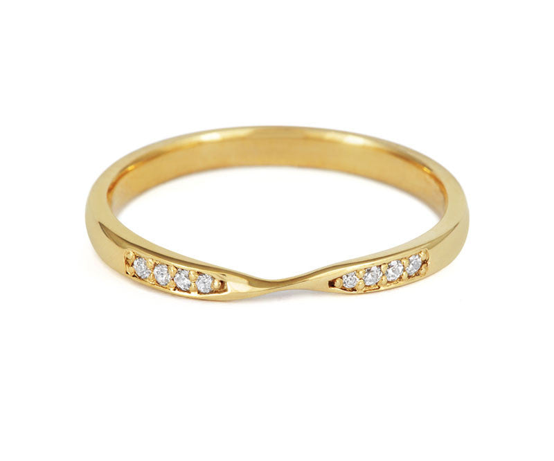 Double Diamond Ribbon Wedding Ring- Yellow or White Gold (18ct) or Platinum - CRED Jewellery - Fairtrade Jewellery - 3