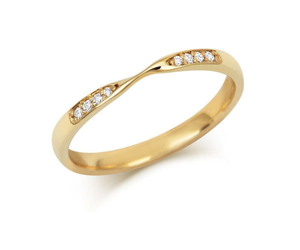 Double Diamond Ribbon Wedding Ring- Yellow or White Gold (18ct) or Platinum - CRED Jewellery - Fairtrade Jewellery - 4