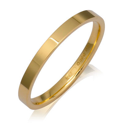 Flat Court Wedding Ring- Yellow or White Gold (18ct) or Platinum - CRED Jewellery - Fairtrade Jewellery - 2