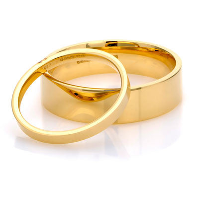 Flat Court Wedding Ring- Yellow or White Gold (18ct) or Platinum - CRED Jewellery - Fairtrade Jewellery - 1