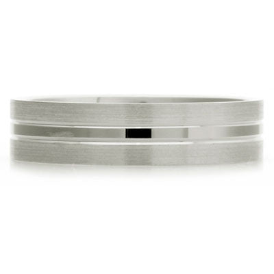 Inner Engraved Flat Court Wedding Ring with Dual-Tone Finish - CRED Jewellery - Fairtrade Jewellery - 3