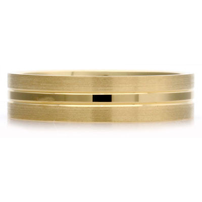 Inner Engraved Flat Court Wedding Ring with Dual-Tone Finish - CRED Jewellery - Fairtrade Jewellery - 4