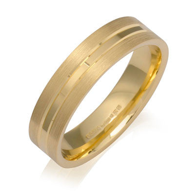 Inner Engraved Flat Court Wedding Ring with Dual-Tone Finish