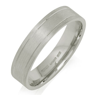 Outer Engraved Flat Court Wedding Ring