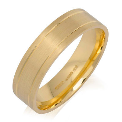 Outer Engraved Flat Court Wedding Ring - CRED Jewellery - Fairtrade Jewellery - 4