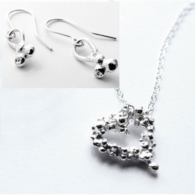Fairtrade Silver Pebble Pendent & Earrings Set