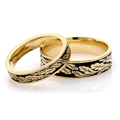 Fern Leaf Wedding Ring - Yellow or White Gold (18ct) or Platinum