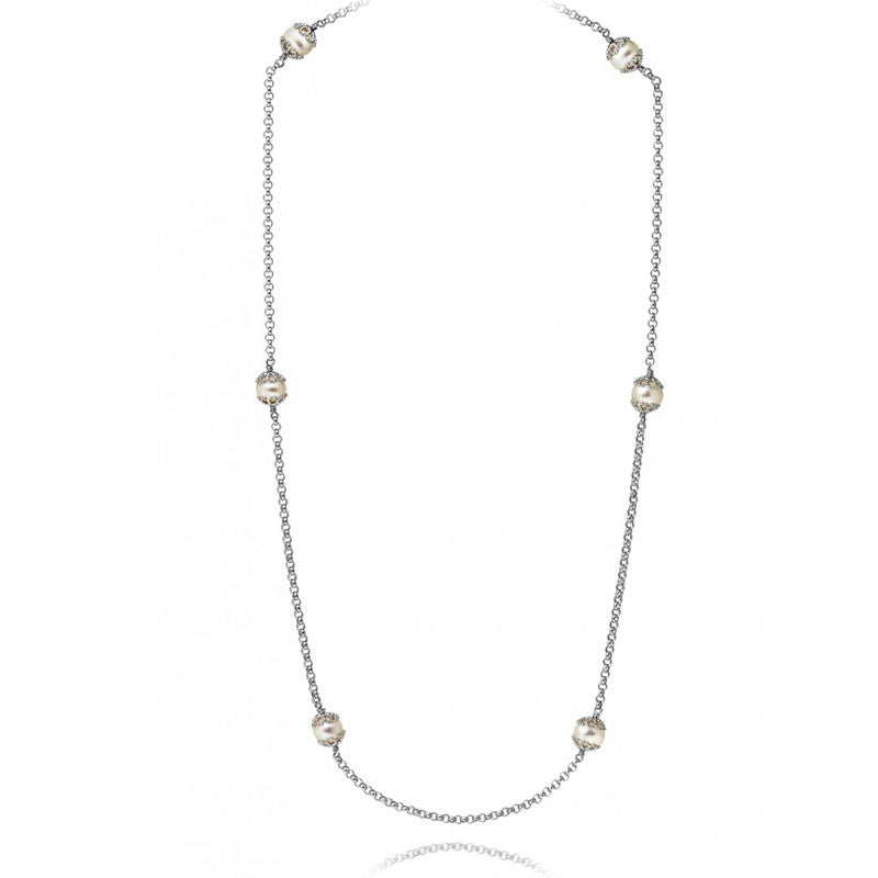 Filigree Long Pearl Necklace - CRED Jewellery - Fairtrade Jewellery
