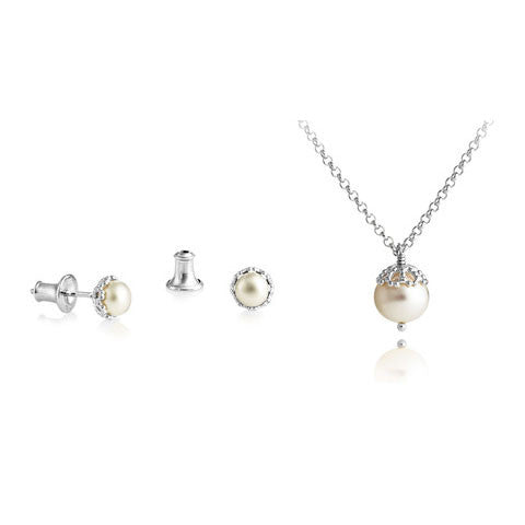 Filigree Pearl Pendant & Studs Set - CRED Jewellery - Fairtrade Jewellery