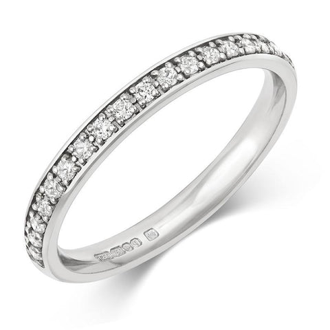 Fine (2.5mm) Double Pave Lab Grown Diamond Half Eternity/Wedding Ring - Platinum