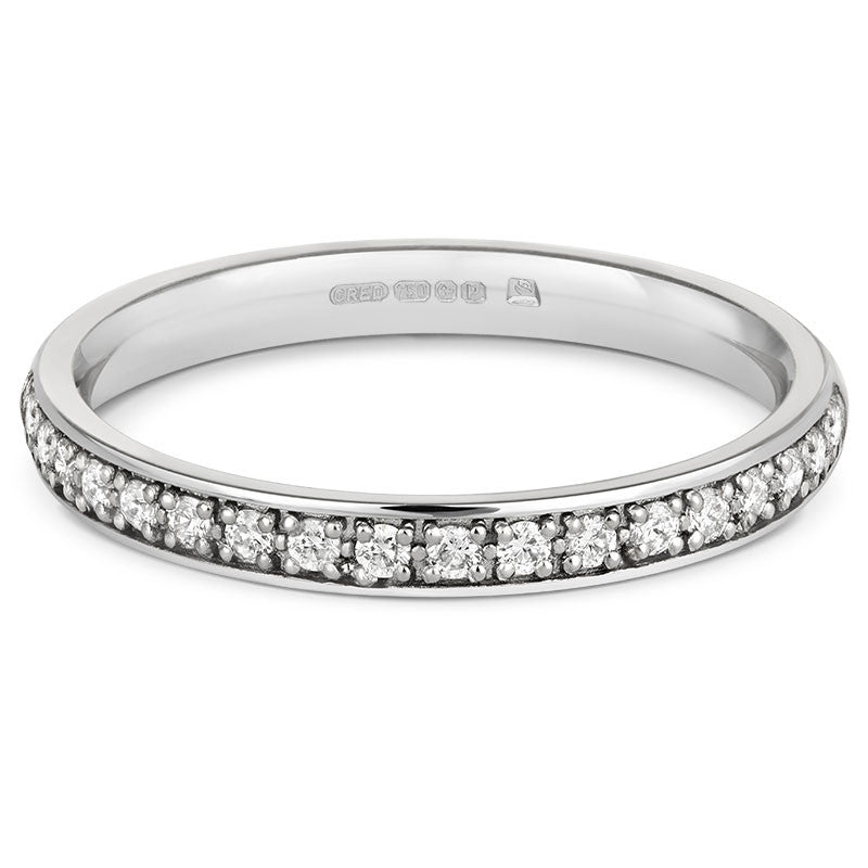 Fine (2.5mm)Double Pave Diamond Half Eternity/Wedding Ring - CRED Jewellery - Fairtrade Jewellery - 2
