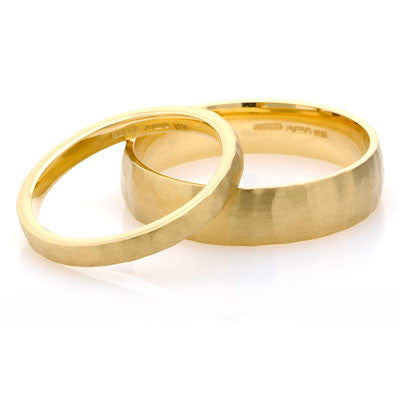 Court Hammered Wedding Ring- Yellow or White Gold (18ct) or Platinum