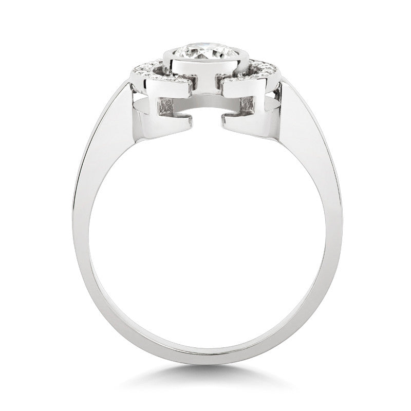 Clara Halo Brilliant Cut Ethical Solitaire Diamond Engagement Ring with Diamond Crescent - CRED Jewellery - Fairtrade Jewellery - 3