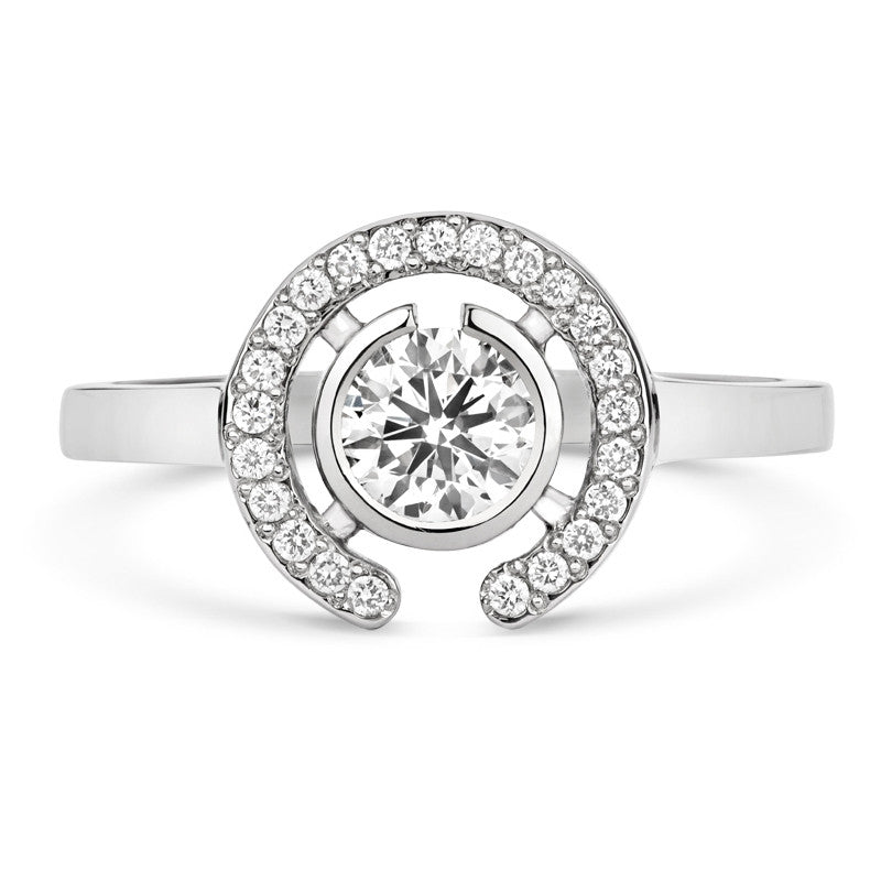 Clara Halo Brilliant Cut Ethical Solitaire Diamond Engagement Ring with Diamond Crescent - CRED Jewellery - Fairtrade Jewellery - 1