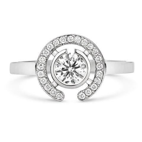 Clara Halo Brilliant Cut Ethical Solitaire Diamond Engagement Ring with Diamond Crescent
