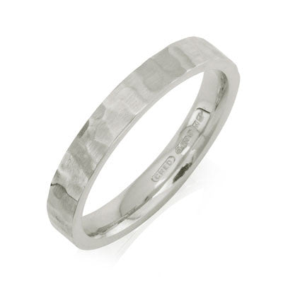 Flat Court Hammered Wedding Ring- Yellow or White Gold (18ct) or Platinum - CRED Jewellery - Fairtrade Jewellery - 2