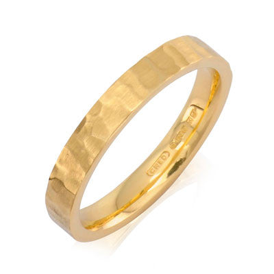 Flat Court Hammered Wedding Ring- Yellow or White Gold (18ct) or Platinum - CRED Jewellery - Fairtrade Jewellery - 3